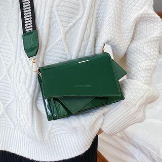 Irregular Patent Flap Crossbody Bag