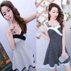 Sleeveless Dotted A-line Mini Dress