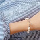 Faux-pearl Chain Bracelet Silver - One Size