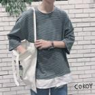 3/4-sleeve Striped Mock Two Piece T-shirt