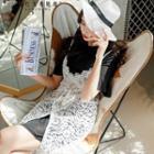 Set: Short-sleeve Dress + Sleeveless Lace Dress