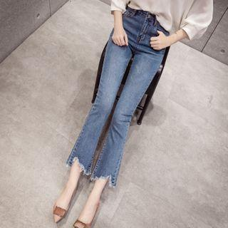 High-waist Distressed Boot-cut Cropped Jeans
