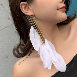 Feather Dangle Ear Cuff 1 Pc - As Shown In Figure - One Size