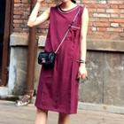Piped Sleeveless Dress
