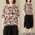 Elbow-sleeve Leaf Print Blouse As Shown In Figure - One Size