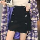 Buttoned Stitched Wrap Miniskirt