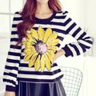 Long-sleeve Striped Printed Top