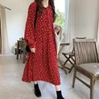 Floral Long-sleeve Loose-fit Pleated Dress Red - One Size