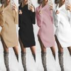 Plain Side Slit Turtleneck Long Sweater