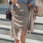 Shirred -detail Checked Midi Skirt