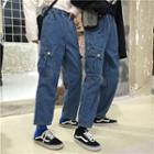 Couple Matching Washed Straight-leg Jeans