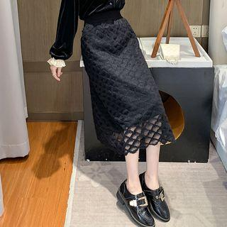 Midi A-line Lace Skirt Black - One Size