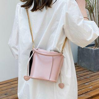 Set: Contrast Panel Chain Bucket Bag + Drawstring Pouch