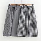 Check Drawstring Wide-leg Pants