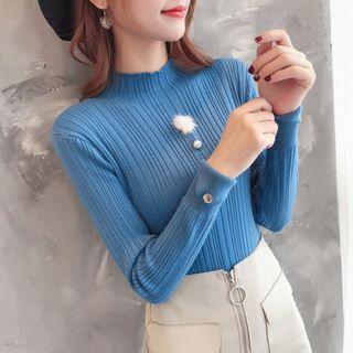 Long-sleeve Mock Neck Faux Pearl Knit Top