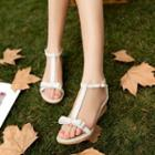 Genuine-leather Bow-accent Sandals