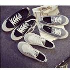Canvas Contrast Trim Lettering Sneakers