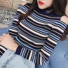 Mock-turtleneck Cold Shoulder Striped Knit Top