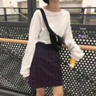 Long-sleeve T-shirt / Plaid Mini Skirt