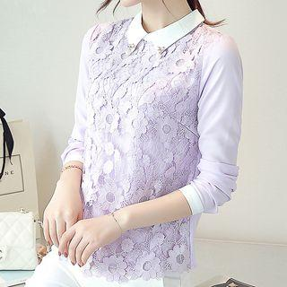 Lace Panel Contrast Collar Blouse