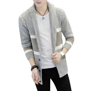 Shawl Collar Color Panel Buttoned Cardigan