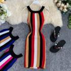 Sleeveless Striped Midi Knit Sheath Dress