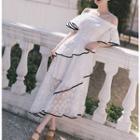Short-sleeve Contrast Trim Lace Midi Dress