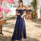 Side-slit Sleeveless Maxi A-line Dress