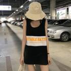 Lettering Color Block Tank Top