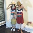 Sleeveless Printed Lace-trim Dress