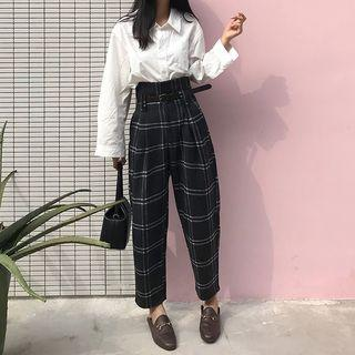 Plaid Harem Dress Pants / Belt