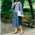 Color Panel Midi Denim Shirtdress
