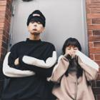 Couple Matching Color Panel Mock Neck Sweater