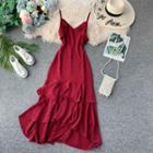 Asymmetric-hem Plain Sleeveless Dress