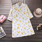 Banana Print 3/4 Sleeve Shirtdress