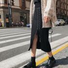 Lace-up Midi Pencil Skirt