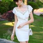 Sleeveless Ruffled Jeweled Dress