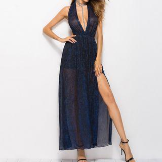 Glittered Halter Maxi Dress
