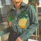 Pineapple Sequined Striped Shirt
