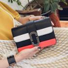 Striped Faux-leather Chain-strap Shoulder Bag