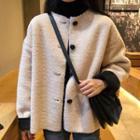 Color Panel Fleece Buttoned Jacket Light Almond - One Size