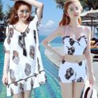 Set: Pattered Swimdress + Bikini
