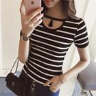 Cutout Stripe Short-sleeve Knit Top