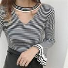 Striped Choker Knit Top