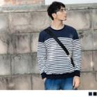 Long Sleeve Striped Panel Top