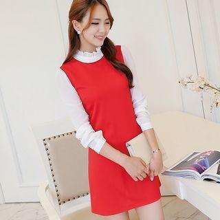 Contrast Trim Frill Collar Long Sleeve Dress