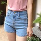 Hidden Band-waist Washed Denim Shorts