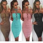 Halter Lace-up Sheath Dress