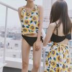 Set: Flower Print Cover-up + Bikini / Set: Flower Print Swim Skirt + Bikini