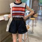 Striped Knit Tank Top / Wide Leg Shorts